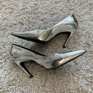 Balenciaga Metallic Silver Heels